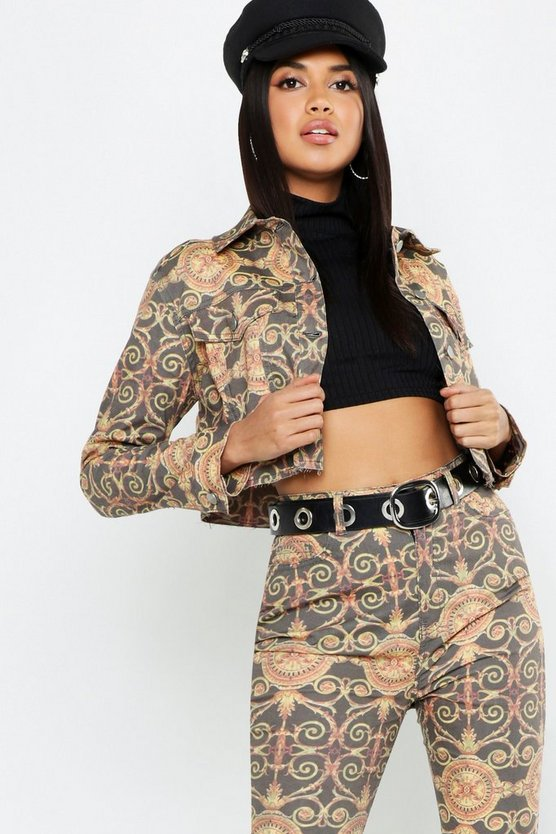 Chain Print Cropped Denim Trucker Jacket