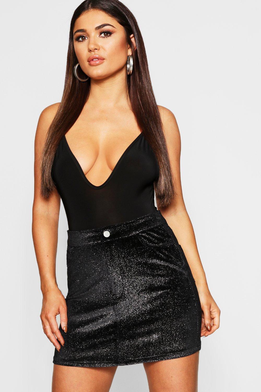 Stretch Shimmer Velvet Skirt