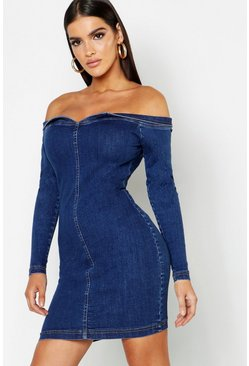 Womens Mid blue Bodycon Off The Shoulder Stretch Denim Dress