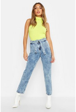 Womens Dark blue High Rise Acid Wash Mom Jeans