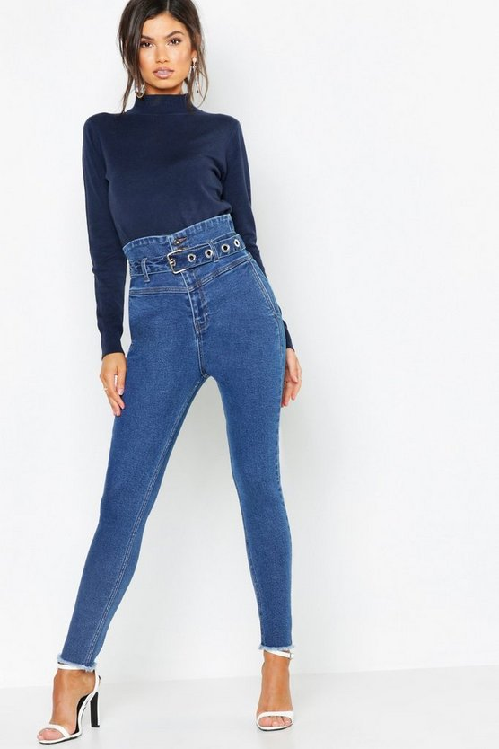 Womens Mid blue Belted Super High Waist Stretch Skinny Jeans