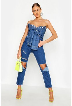 Mid blue High Waist Lazer Cut Mom Jeans