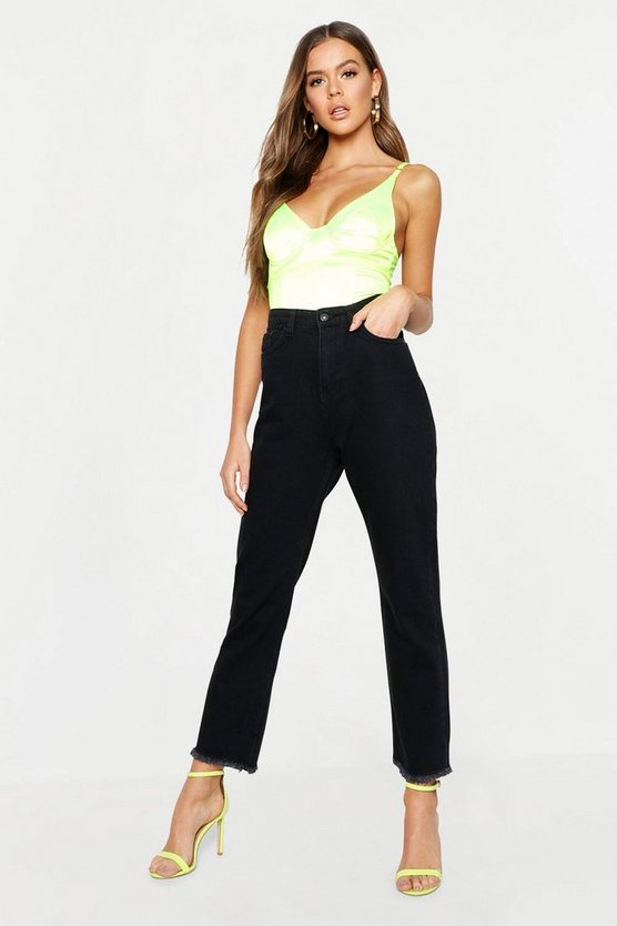 Mid Rise Rigid Straight Leg Jeans