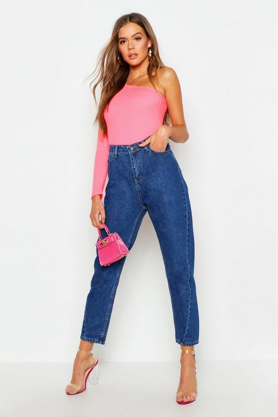 High Waist Twist Seam Mom Jeans