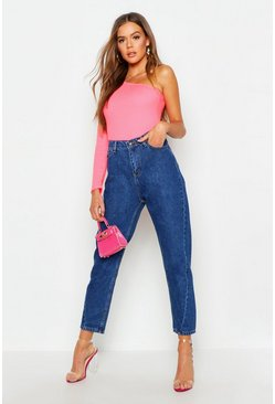 Womens Dark blue High Waist Twist Seam Mom Jeans