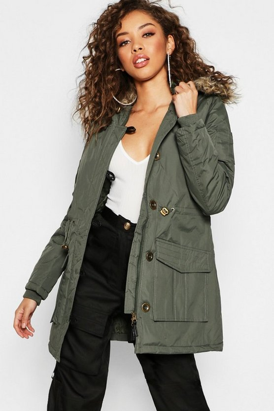 Womens Khaki Faux Fur Trim Parka