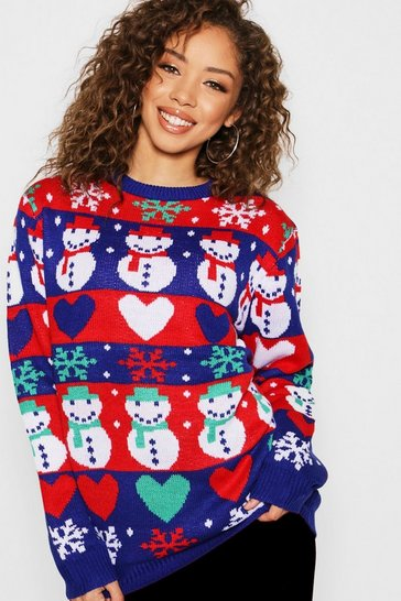 Womens Blue Fairisle Snowman Christmas Jumper