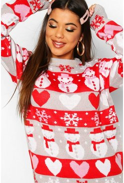 Womens Crystal Fairisle Christmas Snowman Jumper