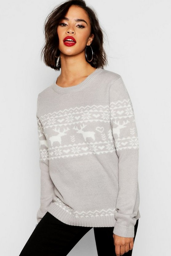 Womens Grey Christmas Reindeer Fairisle Jumper