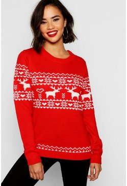 Womens Red Christmas Reindeer Fairisle Jumper