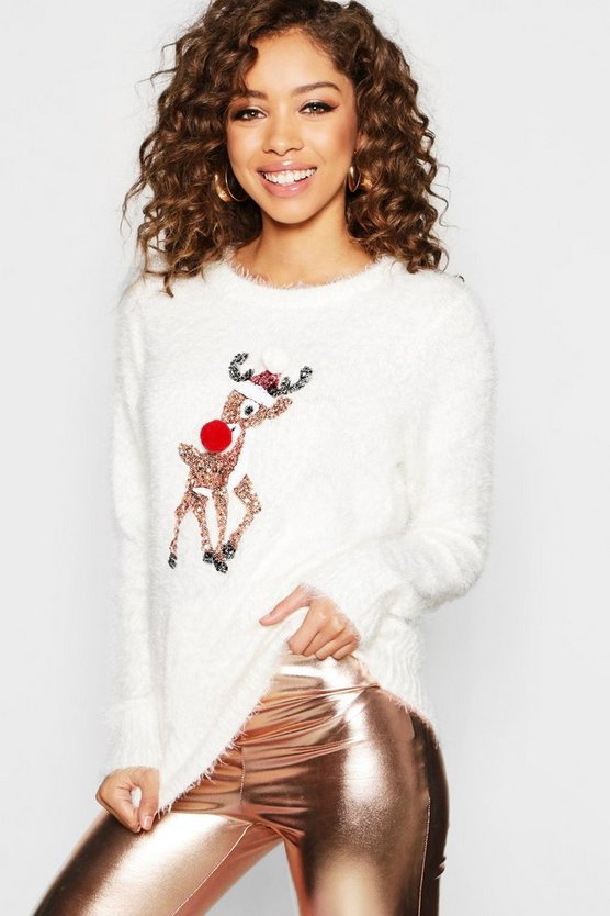 Womens Cream Sequin Reindeer With Pom Pom Detail