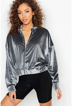 Womens Grey Batwing Velvet Bomber Jacket