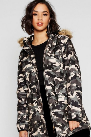 Womens Grey Camo Faux Fur Trim Parka