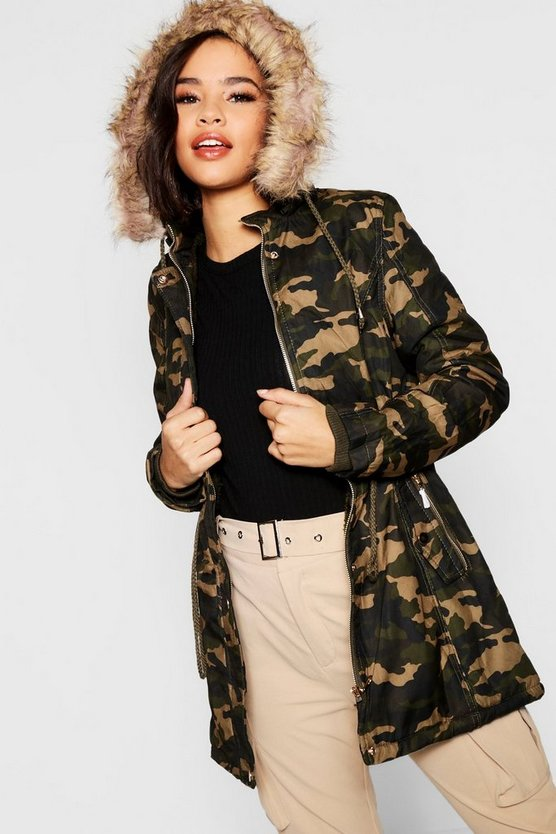 Camo Faux Fur Trim Parka
