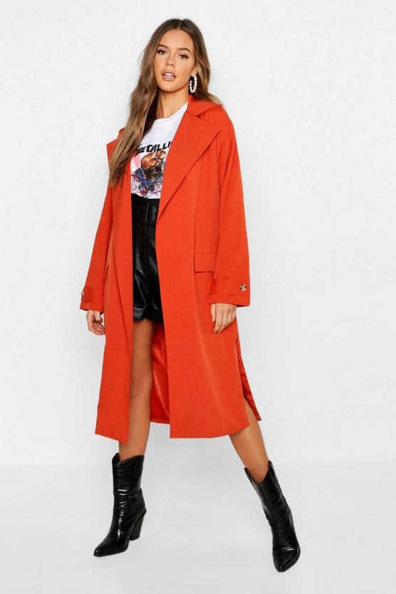 Womens Rust Lined Belted Trench Coat