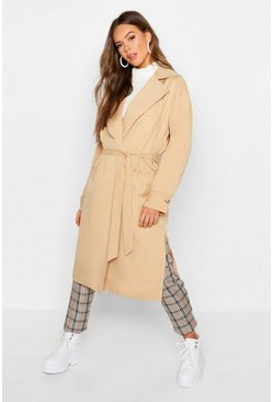 Womens Stone Lined Belted Trench Coat