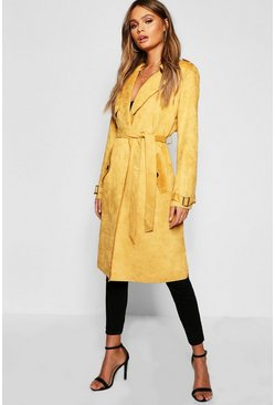 Womens Mustard Collared Belted Suedette Jacket