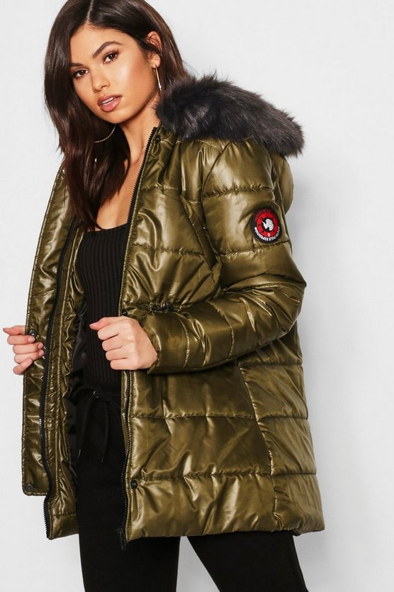 Womens Khaki Cire Padded Faux Fur Hooded Parka