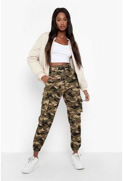 Womens Khaki Camo Print Elasticated Hem Cargo Trousers