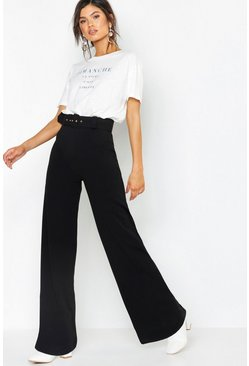 Womens Black High Waist Belted Wide Leg Pants