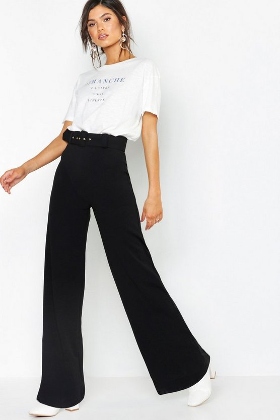 Womens Black High Waist Belted Wide Leg Trousers