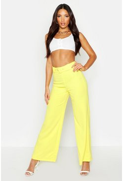 Yellow High Waist Belted Wide Leg Trousers