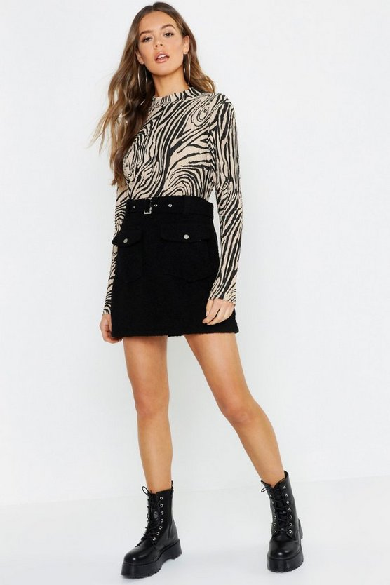 Womens Black Teddy Belted Mini Skirt