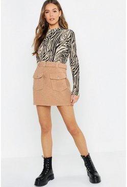 Womens Camel Teddy Belted Mini Skirt