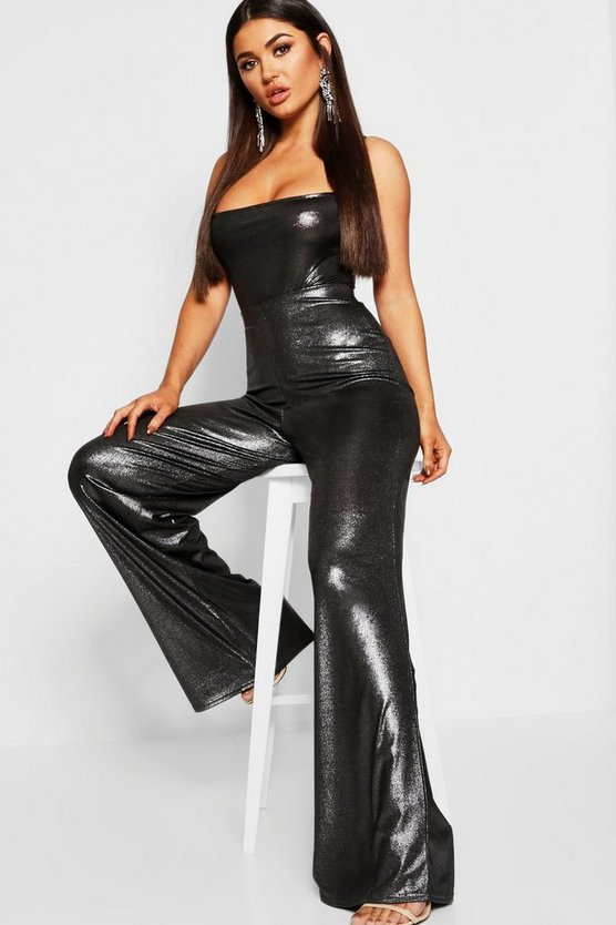 Metallic Wide Leg Trouser
