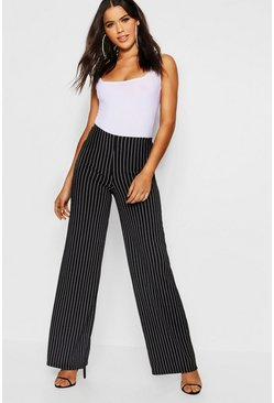Womens Black Pinstripe Wide Leg Trousers