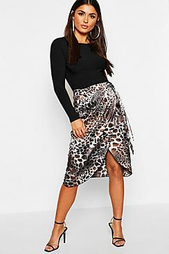 Leopard Print Satin Wrap Split Midi Skirt