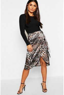 Womens Blue Leopard Print Satin Wrap Split Midi Skirt