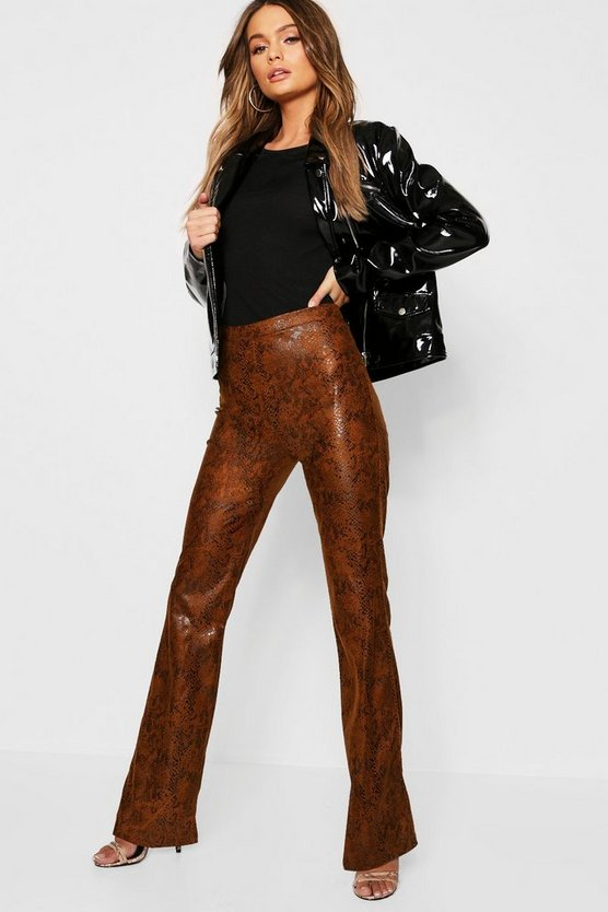 PU Snake Flare Trouser