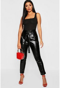 Womens Black Leather Look Paper Bag Trouser