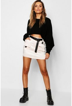 Womens Black Satin Utility Mini Skirt With Buckle Belt