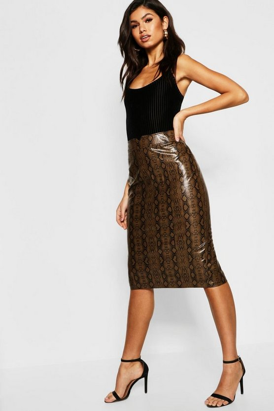 Womens Brown Snake Print PU Leather Look Midi Skirt