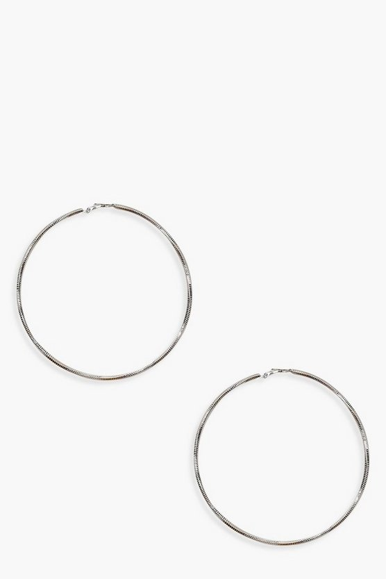 Womens Silver Oversized Hoop Earrings