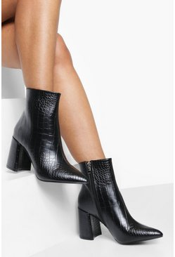 Ankle Boots mit Blockabsatz in Kroko-Optik, Schwarz, Damen