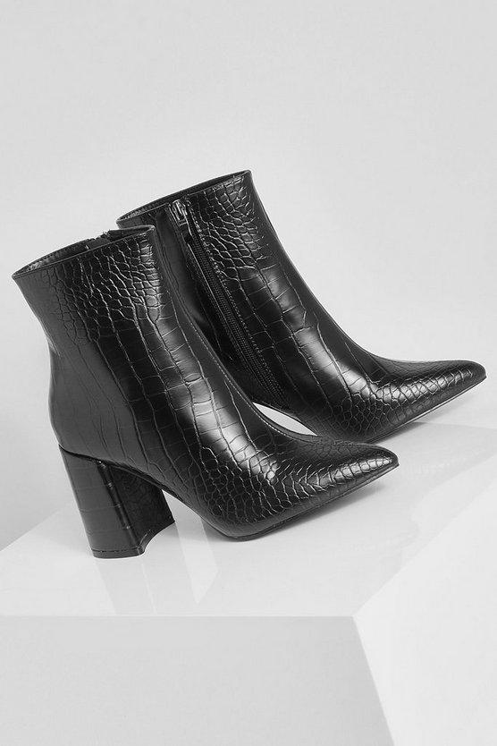 Croc Block Heel Shoe Boots