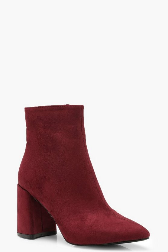 Womens Burgundy Block Heel Shoe Boots