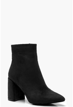 Womens Black Block Heel Shoe Boots