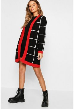 Womens Black Oversized Check Pattern Cardigan