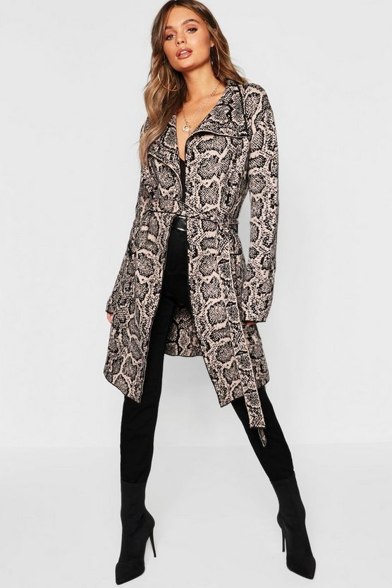 Womens Stone Snake Print Belted Cardigan