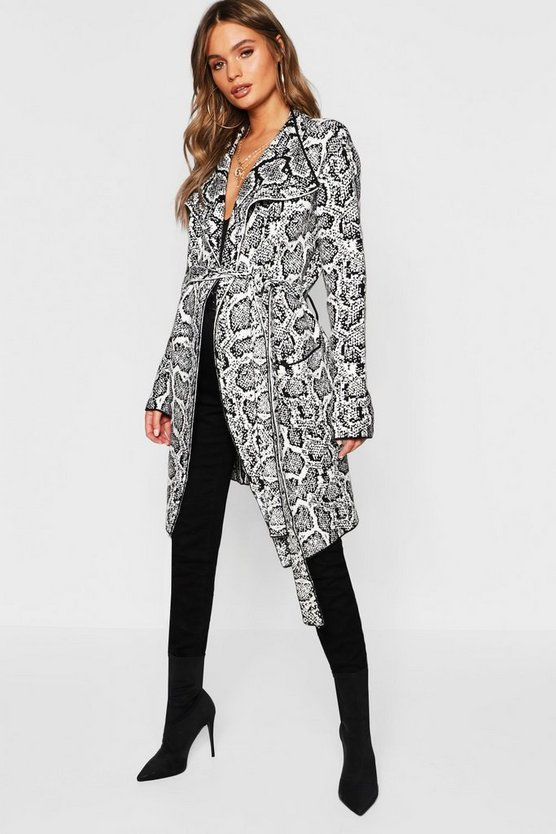 Womens White Snake Print Belted Cardigan