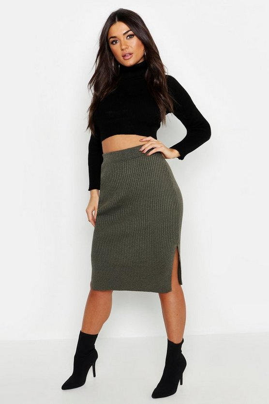 Womens Khaki Rib Knit Midi Skirt