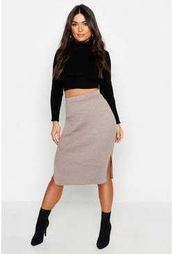 Womens Stone Rib Knit Midi Skirt