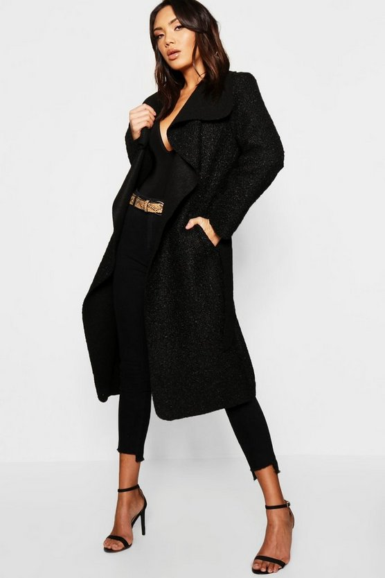 Womens Belted Waterfall Teddy Coat