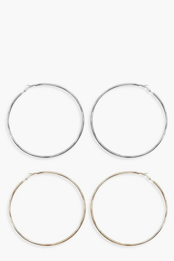 Womens Multi Oversized Hoop Earrings 2 Pack