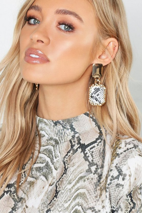 Circle & Faux Snake Statement Earrings