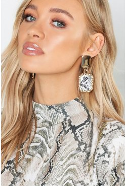 Womens Multi Circle & Faux Snake Statement Earrings